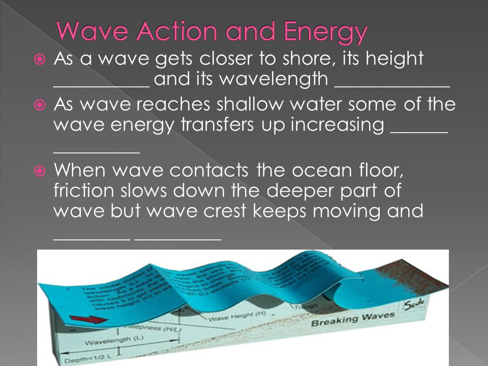 Wave Action and Energy As a wave gets closer to shore, its height __________ and its wavelength ____________.