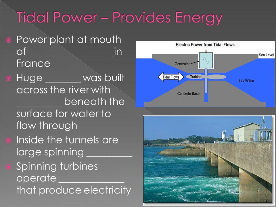 Tidal Power – Provides Energy
