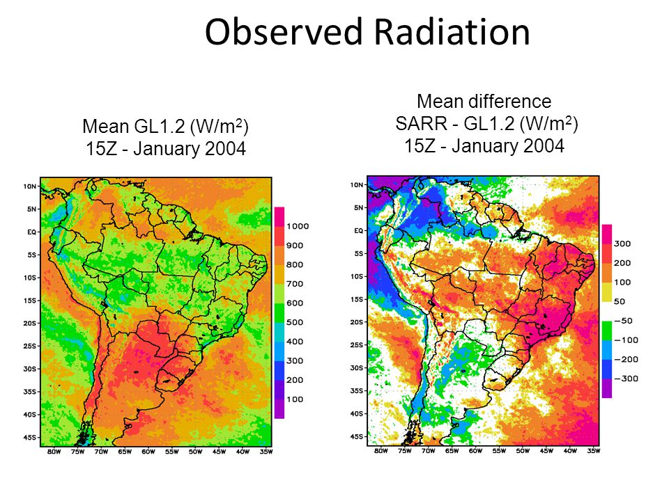 Observed Radiation Mean difference SARR - GL1.2 (W/m2)