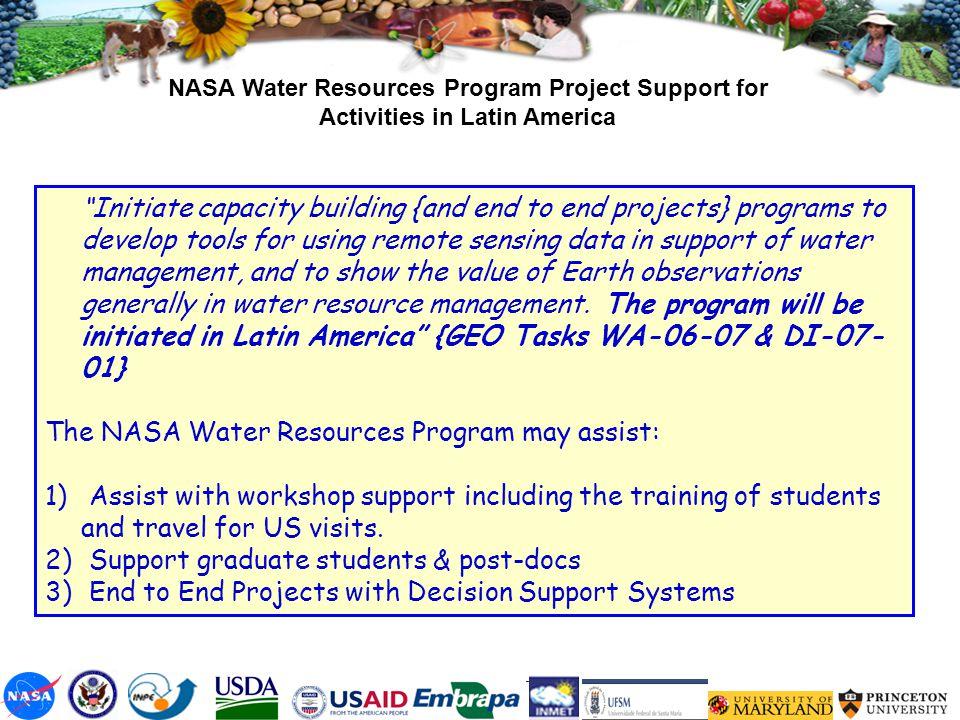The NASA Water Resources Program may assist: