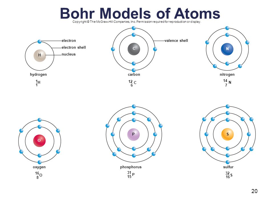 Bohr Models of Atoms electron valence shell electron shell C N H