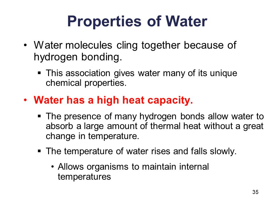Properties of Water Water molecules cling together because of hydrogen bonding. This association gives water many of its unique chemical properties.