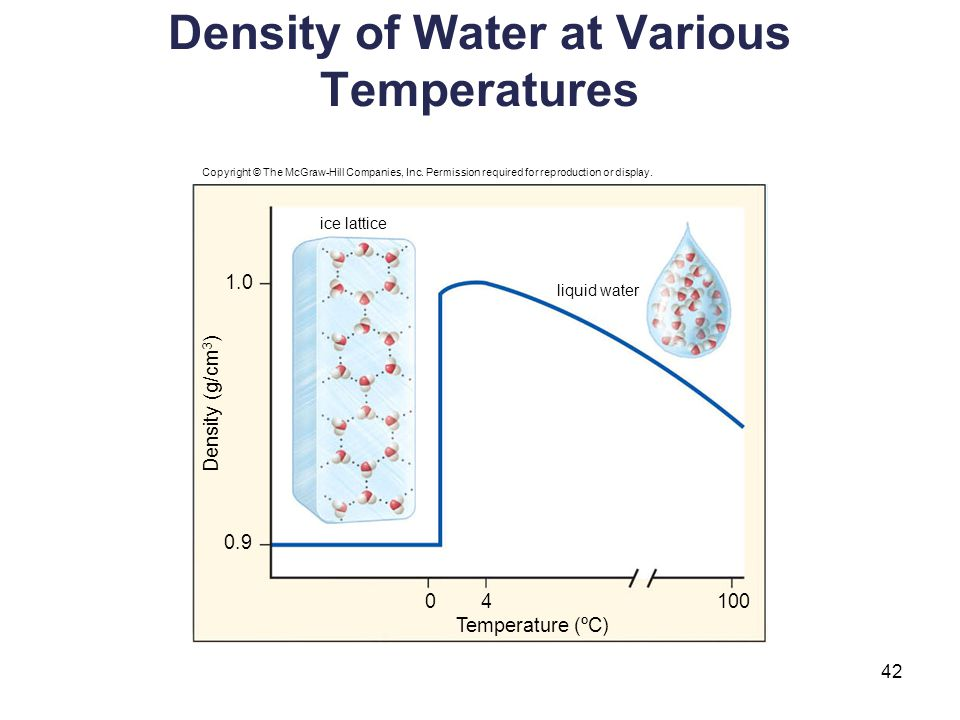 Density of Water at Various Temperatures