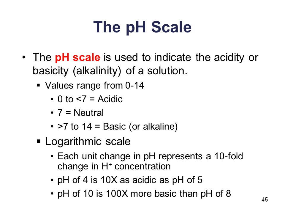 The pH Scale The pH scale is used to indicate the acidity or basicity (alkalinity) of a solution. Values range from 0-14.