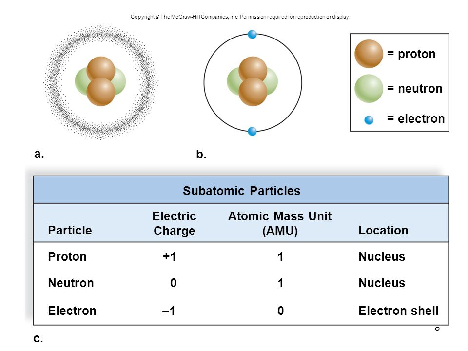 Electric Charge Atomic Mass Unit (AMU)