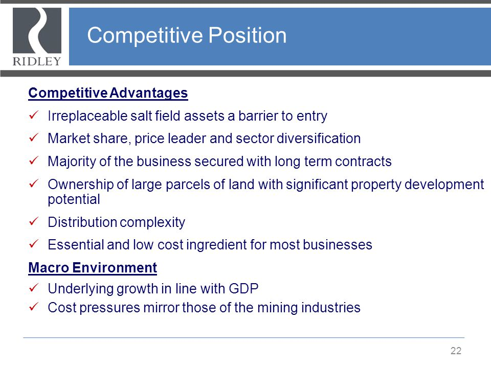 Competitive Position Competitive Advantages