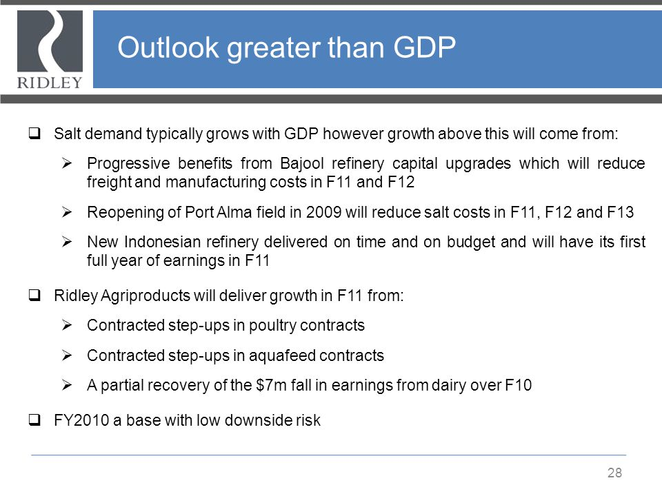 Outlook greater than GDP