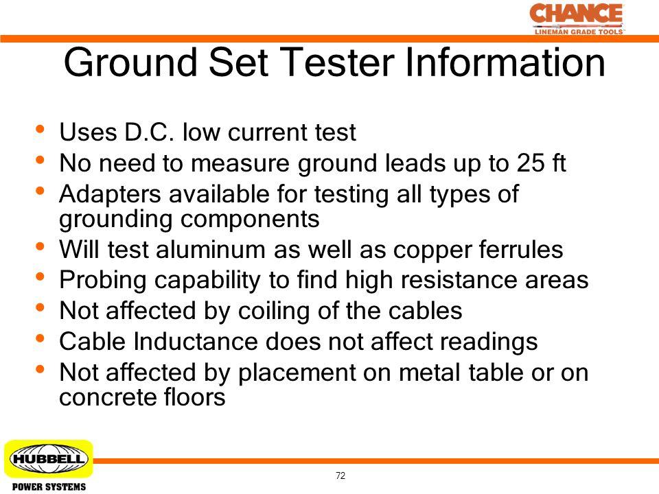 Ground Set Tester Information