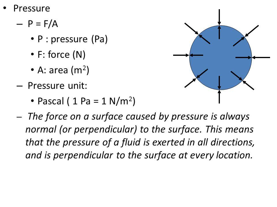 Pressure P = F/A P : pressure (Pa) F: force (N) A: area (m2)