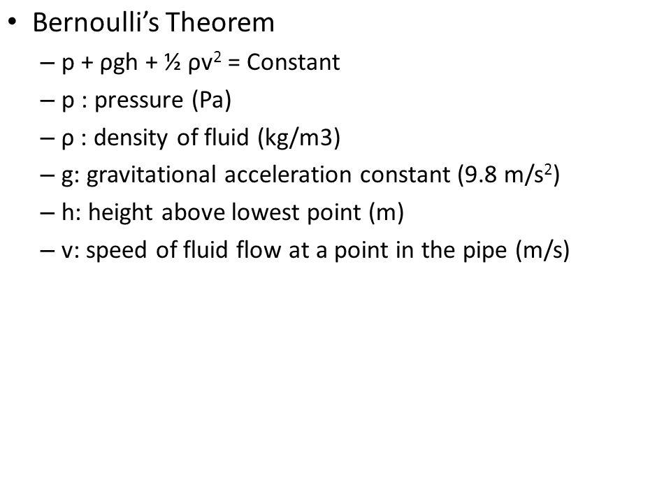 Bernoulli's Theorem p + ρgh + ½ ρv2 = Constant p : pressure (Pa)