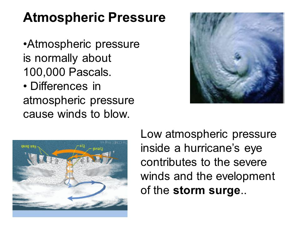 Atmospheric Pressure Atmospheric pressure is normally about 100,000 Pascals. Differences in atmospheric pressure cause winds to blow.