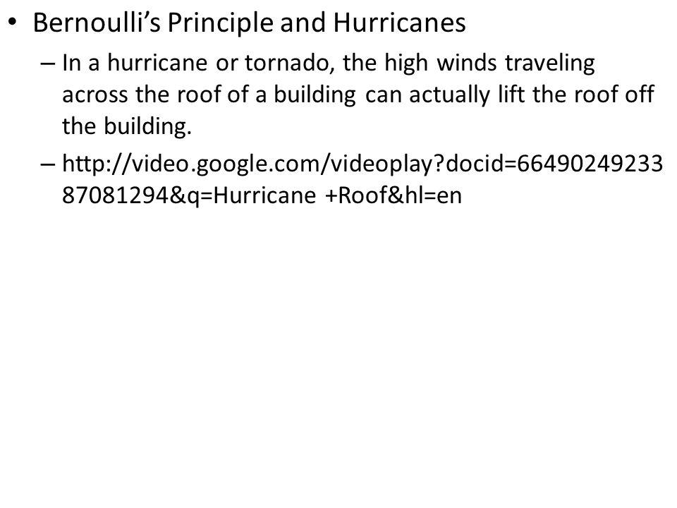 Bernoulli's Principle and Hurricanes