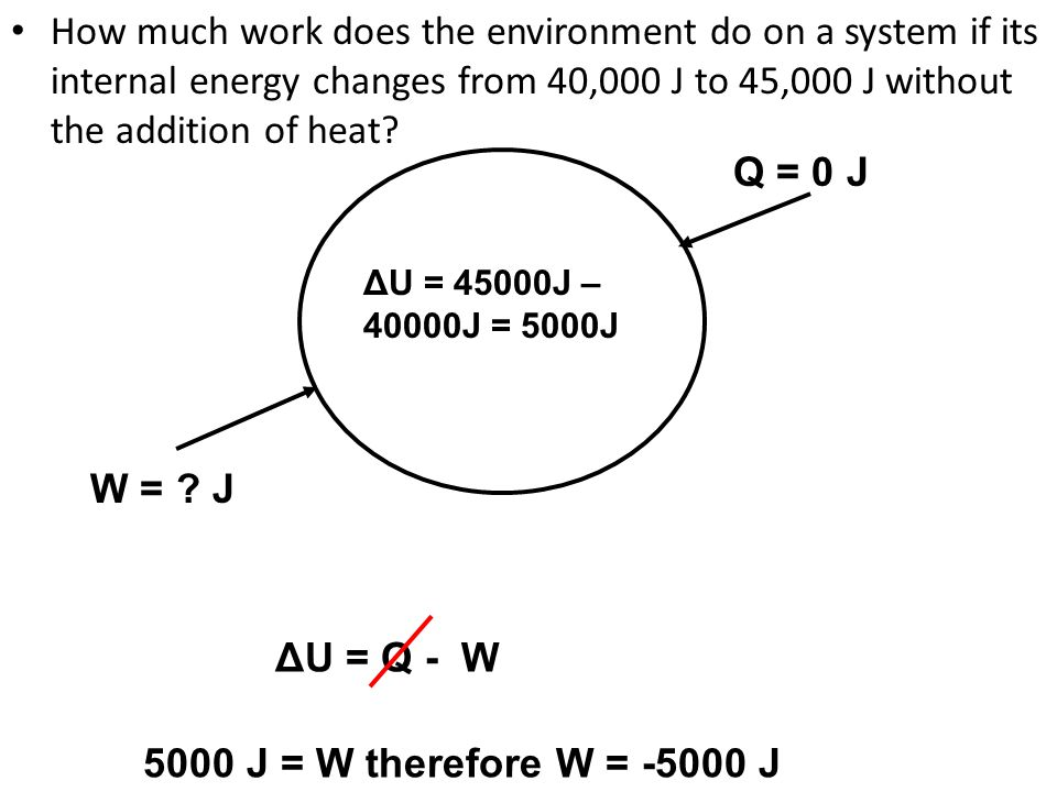 How much work does the environment do on a system if its internal energy changes from 40,000 J to 45,000 J without the addition of heat