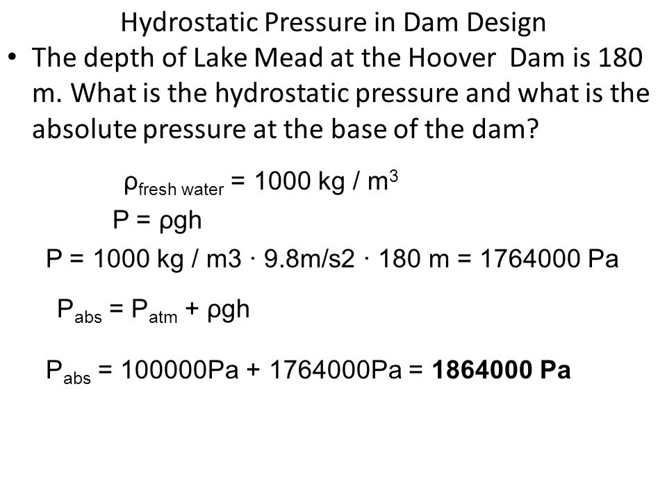 Hydrostatic Pressure in Dam Design