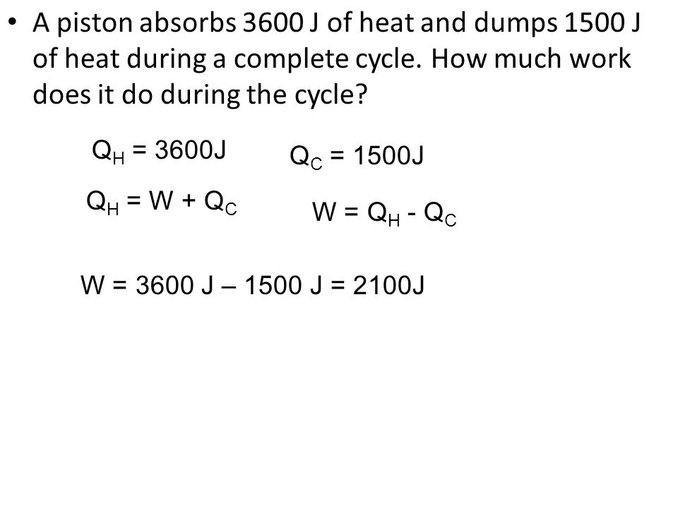 A piston absorbs 3600 J of heat and dumps 1500 J of heat during a complete cycle. How much work does it do during the cycle