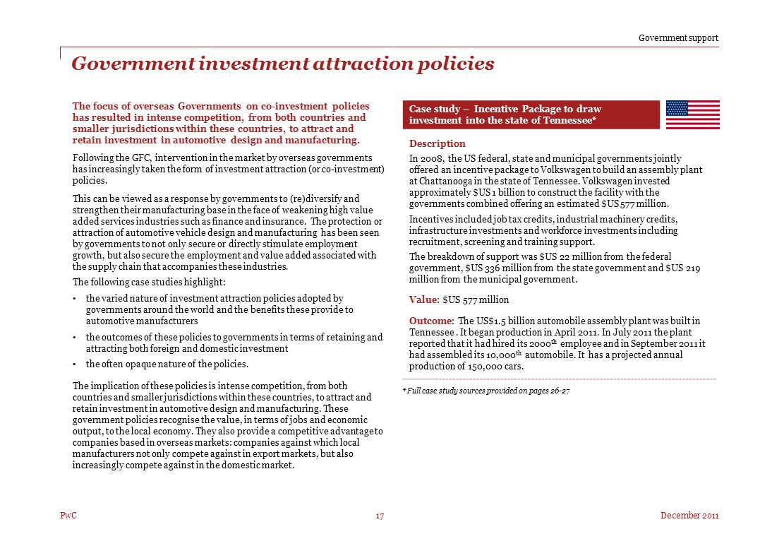 Government investment attraction policies