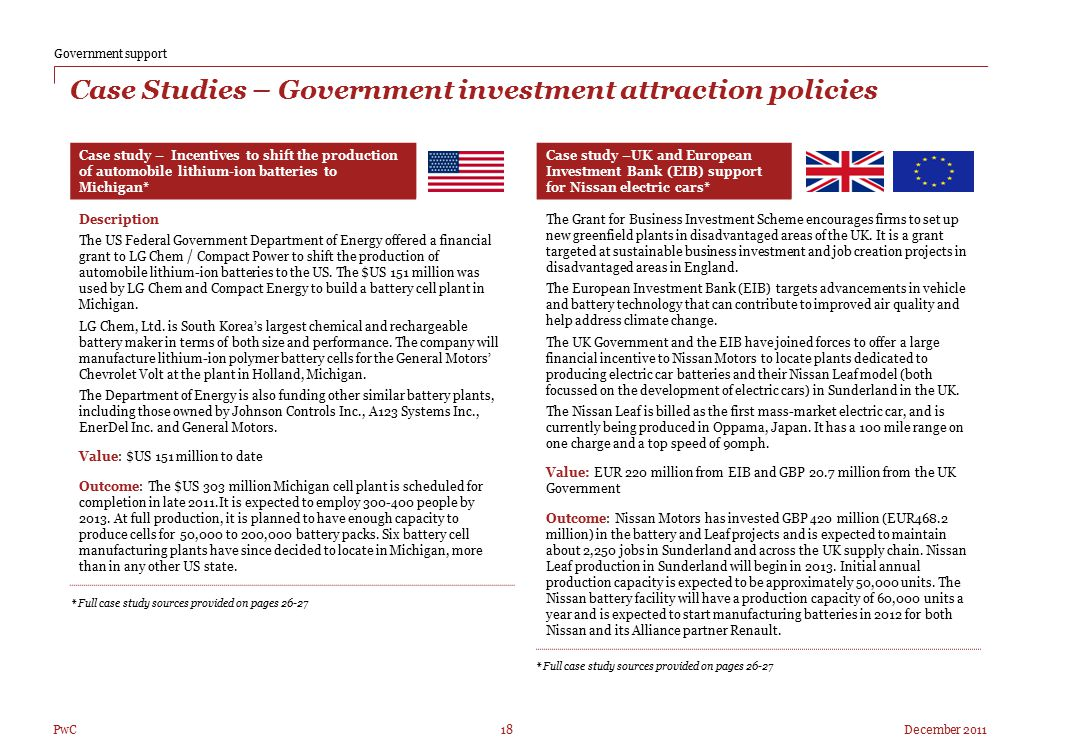 Case Studies – Government investment attraction policies