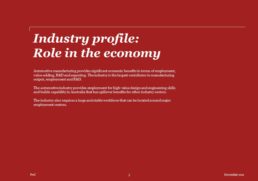 Industry profile: Role in the economy