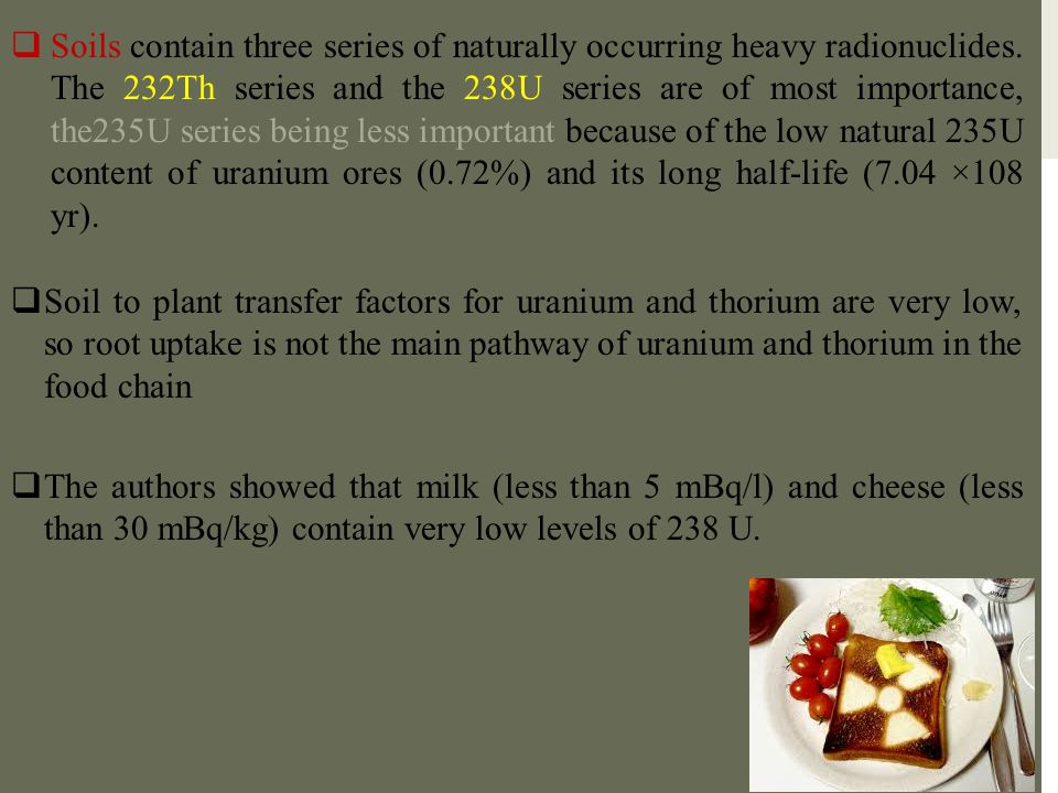 Soils contain three series of naturally occurring heavy radionuclides