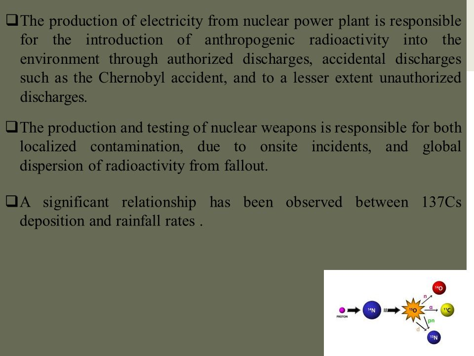The production of electricity from nuclear power plant is responsible for the introduction of anthropogenic radioactivity into the environment through authorized discharges, accidental discharges such as the Chernobyl accident, and to a lesser extent unauthorized discharges.