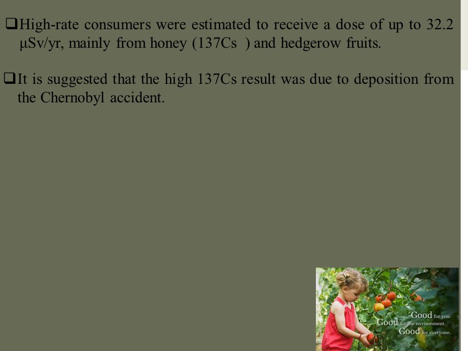 High-rate consumers were estimated to receive a dose of up to 32