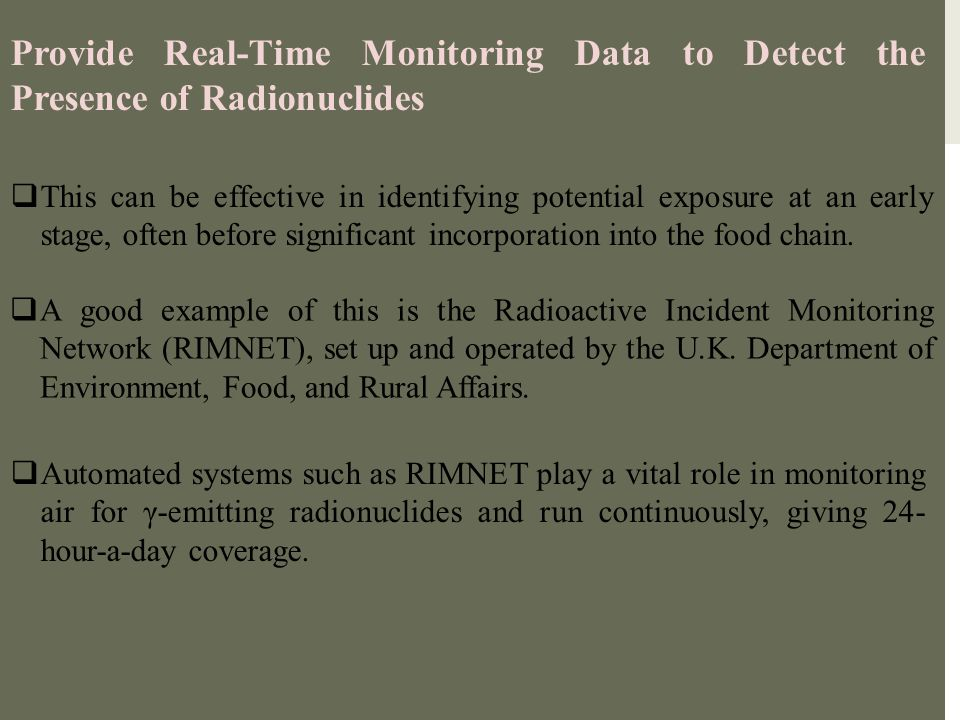 Provide Real-Time Monitoring Data to Detect the Presence of Radionuclides