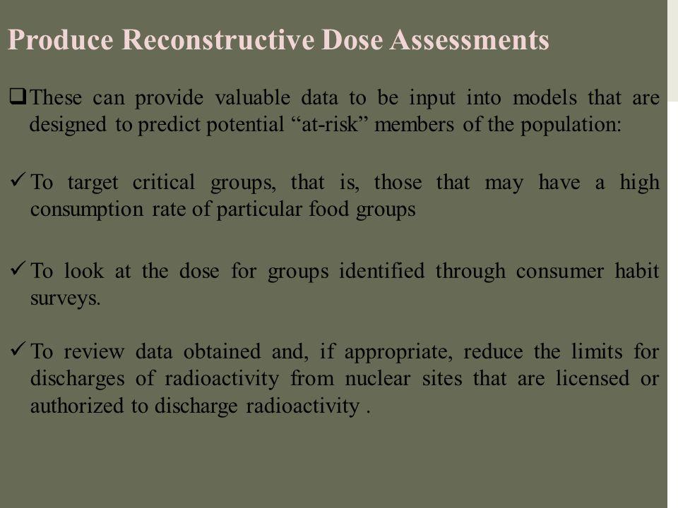 Produce Reconstructive Dose Assessments