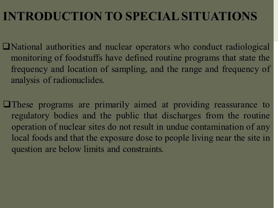 INTRODUCTION TO SPECIAL SITUATIONS