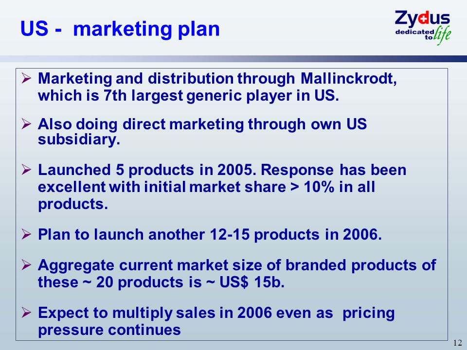 US - marketing plan Marketing and distribution through Mallinckrodt, which is 7th largest generic player in US.
