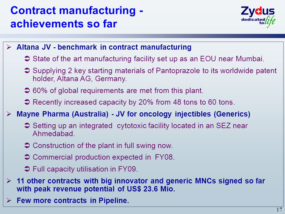 Contract manufacturing - achievements so far