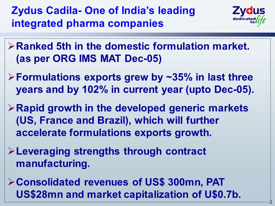 Zydus Cadila- One of India's leading integrated pharma companies