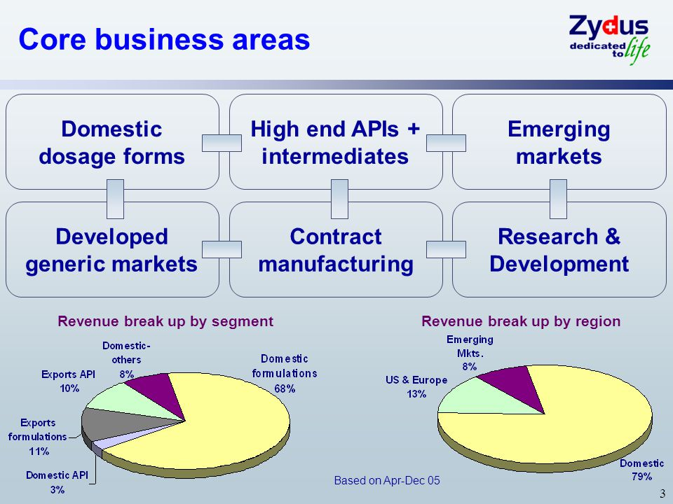 Core business areas Domestic dosage forms High end APIs +