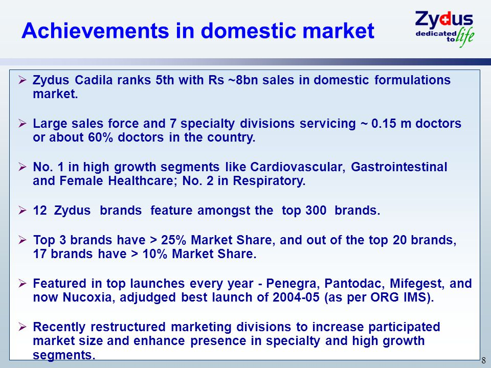 Achievements in domestic market
