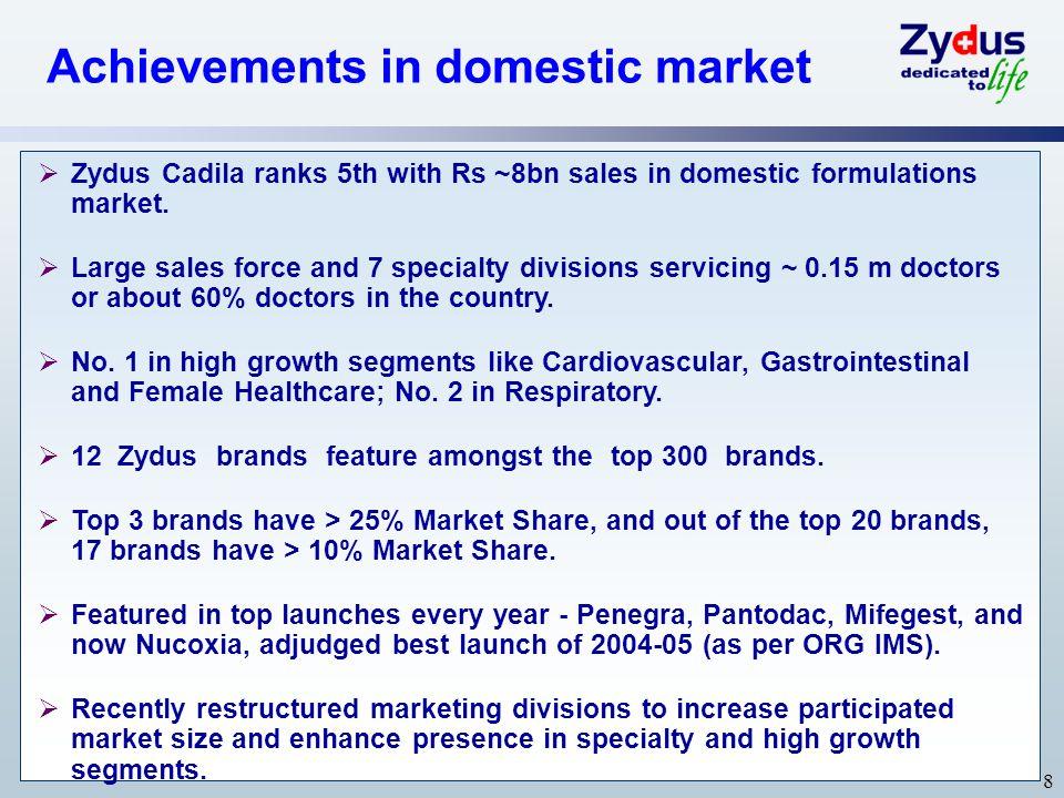 Achievements in domestic market