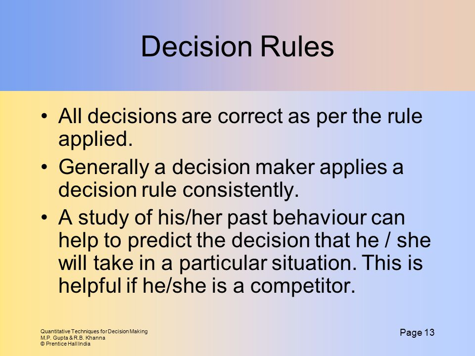 Decision Rules All decisions are correct as per the rule applied.