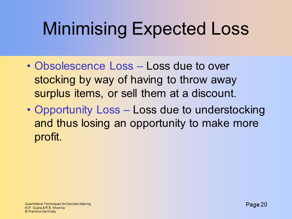 Minimising Expected Loss