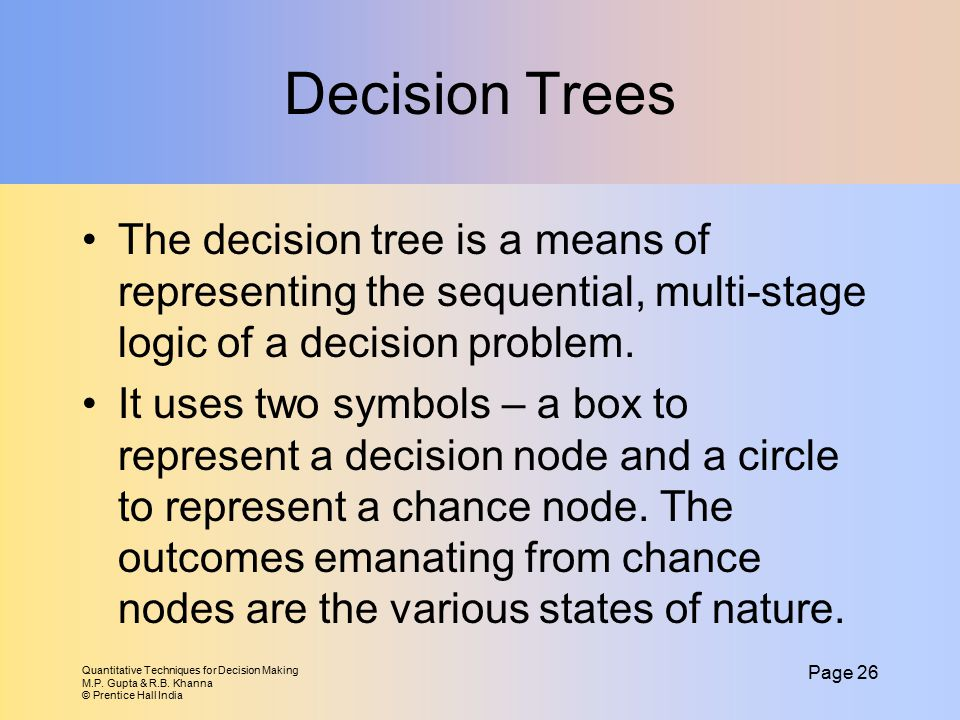 Decision Trees The decision tree is a means of representing the sequential, multi-stage logic of a decision problem.