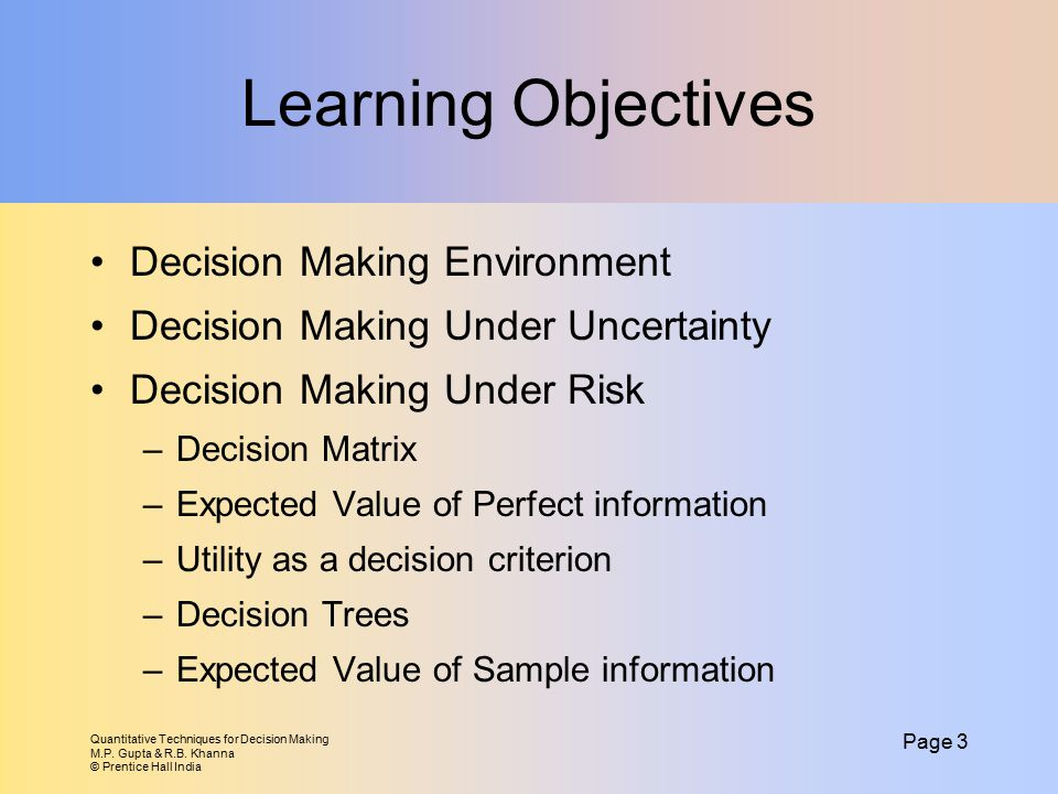 Learning Objectives Decision Making Environment