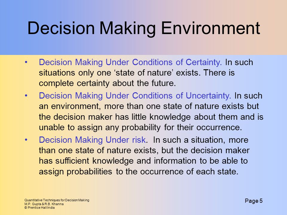 Decision Making Environment