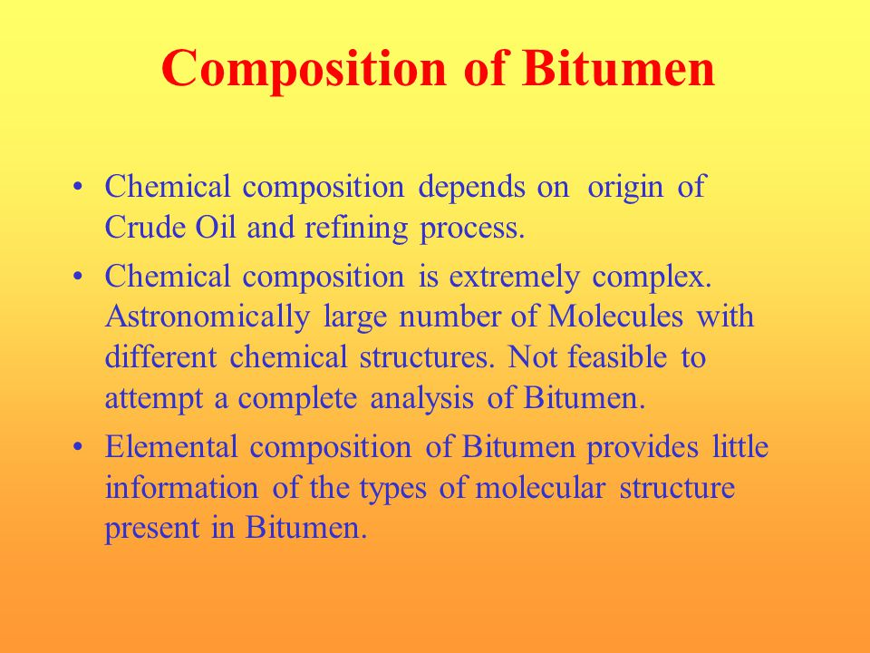Composition of Bitumen