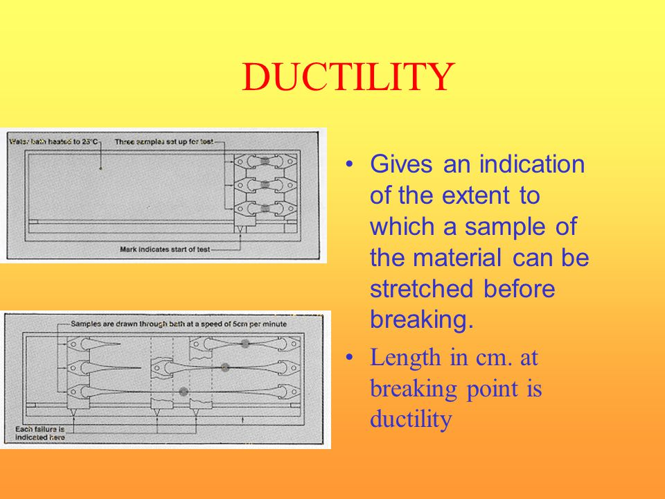 DUCTILITY Gives an indication of the extent to which a sample of the material can be stretched before breaking.