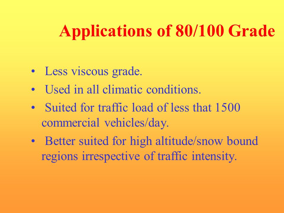 Applications of 80/100 Grade