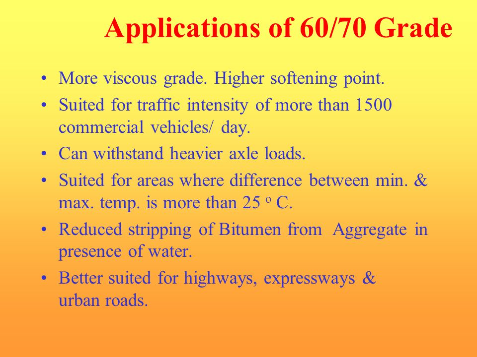 Applications of 60/70 Grade
