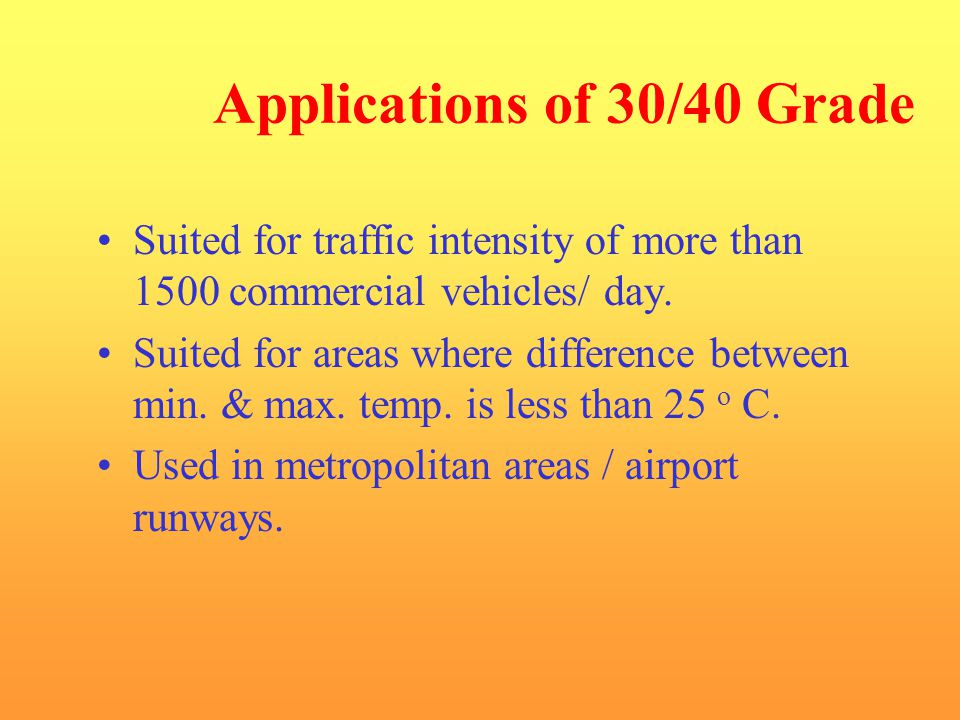 Applications of 30/40 Grade