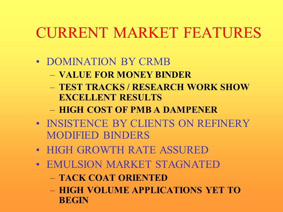 CURRENT MARKET FEATURES