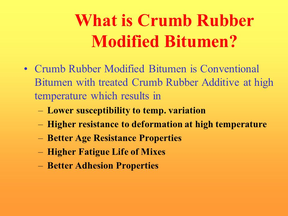 What is Crumb Rubber Modified Bitumen