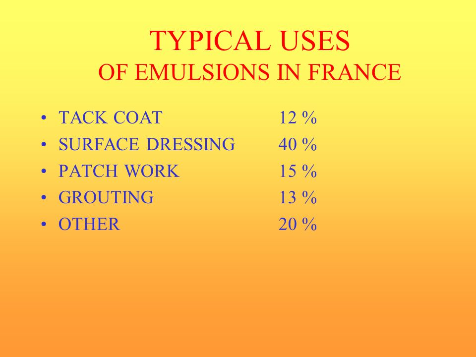 TYPICAL USES OF EMULSIONS IN FRANCE