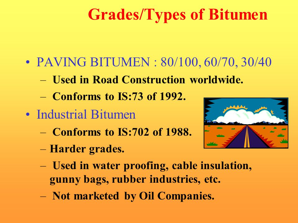 Grades/Types of Bitumen