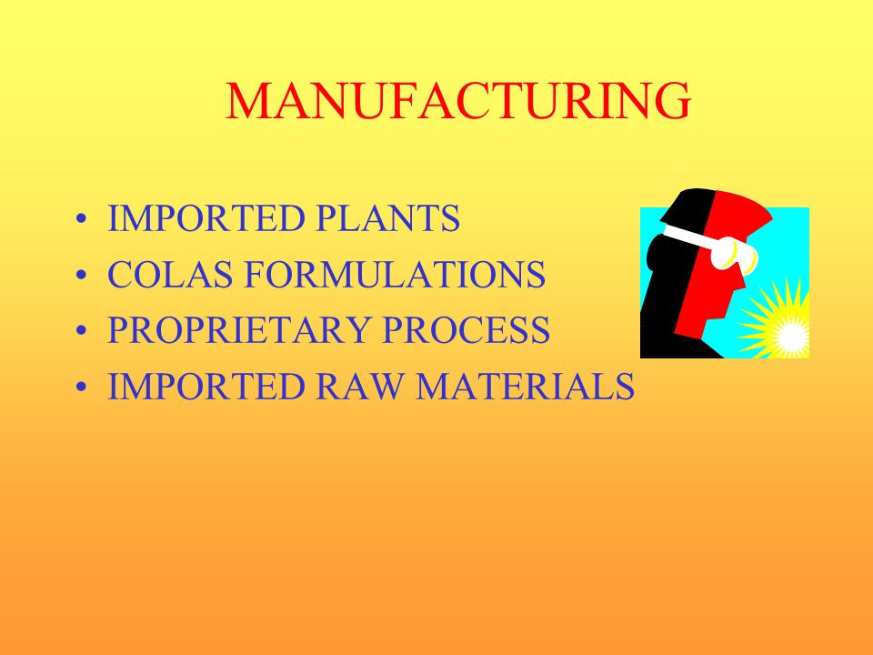 MANUFACTURING IMPORTED PLANTS COLAS FORMULATIONS PROPRIETARY PROCESS