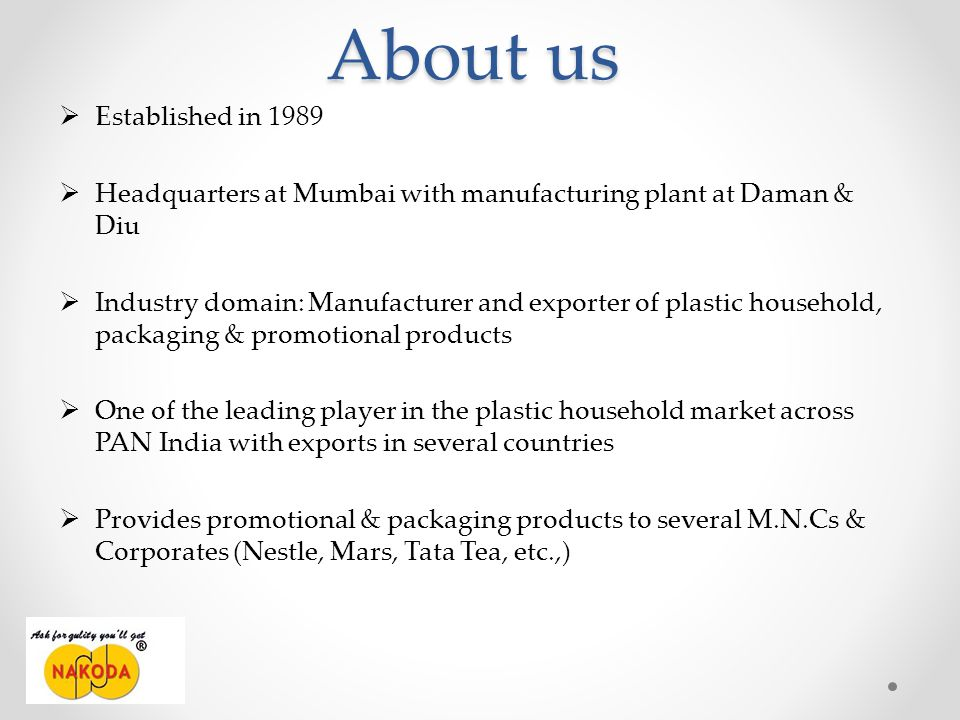 About us Established in 1989